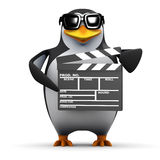 3d Penguin making a movie Stock Photography