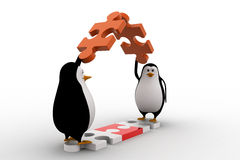 3d penguin making roof from pieces of jigsaw puzzle concept Stock Images
