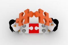 3d penguin making roof from pieces of jigsaw puzzle concept Royalty Free Stock Photography