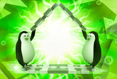 3d penguin making roof from pieces of jigsaw puzzle illustration Royalty Free Stock Photography