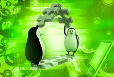 3d penguin making roof from pieces of jigsaw puzzle illustration Royalty Free Stock Photo