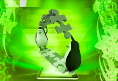 3d penguin making roof from pieces of jigsaw puzzle illustration Stock Image