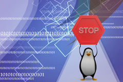 3d penguin making stop illustration Royalty Free Stock Photos