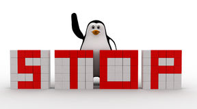 3d penguin making stop text from cubes concept Royalty Free Stock Photography