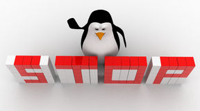 3d penguin making stop text from cubes concept Royalty Free Stock Images