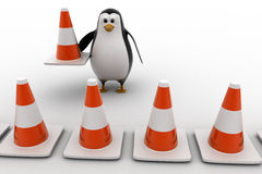 3d penguin making traffic cone row concept Stock Photography