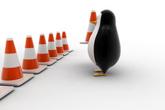 3d penguin making traffic cone row concept Stock Image