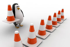 3d penguin making traffic cone row concept Royalty Free Stock Photos