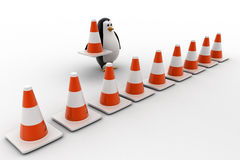 3d penguin making traffic cone row concept Royalty Free Stock Photo