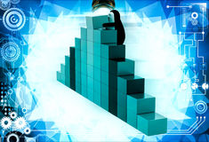 3d penguin making wall with colourful cubes illustration Royalty Free Stock Photography