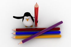 3d penguin with many colourful pencils concept Stock Photos