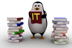 3d penguin with many reference book of it concept Stock Image
