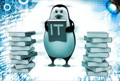 3d penguin with many reference book of it illustration Royalty Free Stock Photos