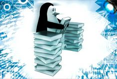 3d penguin with many reference book of it illustration Royalty Free Stock Image
