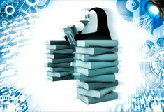 3d penguin with many reference book of it illustration Royalty Free Stock Photo