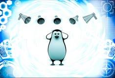 3d penguin between many speaker speaks loudly illustration Stock Photo