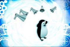 3d penguin between many speaker speaks loudly illustration Stock Images