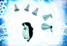 3d penguin between many speaker speaks loudly illustration Royalty Free Stock Photography
