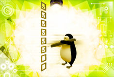 3d penguin mark on check list with pen illustration Royalty Free Stock Photos