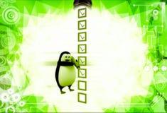 3d penguin mark on check list with pen illustration Stock Photos