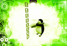 3d penguin mark on check list with pen illustration Royalty Free Stock Images