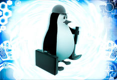 3d penguin mechanical engineer going to work illustration Stock Images