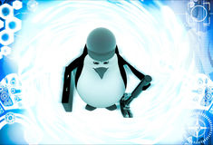 3d penguin mechanical engineer going to work illustration Royalty Free Stock Photos