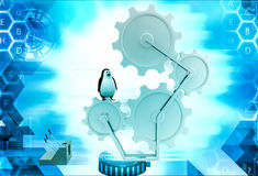 3d penguin on mechanical gear and levers illustration Royalty Free Stock Photography