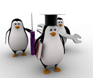 3d penguin mechanical graduate with wrench and screw driver concept Royalty Free Stock Photo