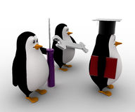 3d penguin mechanical graduate with wrench and screw driver concept Stock Photography