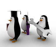 3d penguin mechanical graduate with wrench and screw driver concept Stock Photo