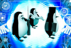 3d penguin mechanical graduate with wrench and screw driver illustration Royalty Free Stock Image