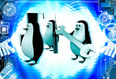 3d penguin mechanical graduate with wrench and screw driver illustration Stock Image