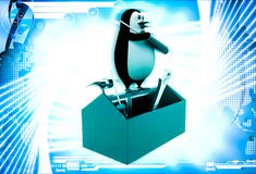 3d penguin with mechanical toolbox illustration Royalty Free Stock Images