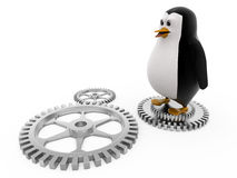 3d penguin on mechanical wheels concept Stock Image