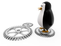 3d penguin on mechanical wheels concept Royalty Free Stock Image