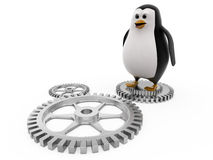 3d penguin on mechanical wheels concept Stock Images