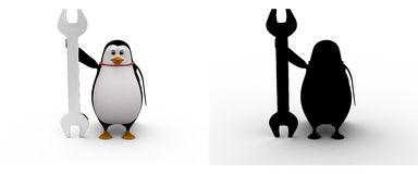 3d penguin with mechanical wrench concept collections with alpha and shadow channel Stock Photo