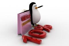 3d penguin with mega discount bag and 10% concept Stock Photos