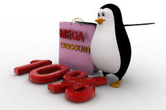 3d penguin with mega discount bag and 10% concept Stock Photography