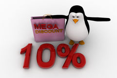 3d penguin with mega discount bag and 10% concept Royalty Free Stock Image
