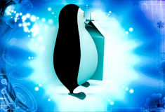 3d penguin with milk bag illustration Stock Photos