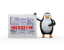 3d penguin and mission wordcloud tags Stock Photography