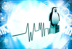 3d penguin monitoring heart beat illustration Royalty Free Stock Image