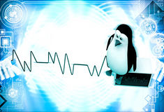 3d penguin monitoring heart beat illustration Stock Image