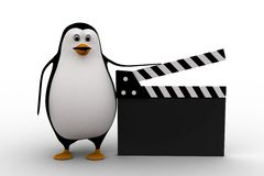 3d penguin with movie clapper concept Royalty Free Stock Images