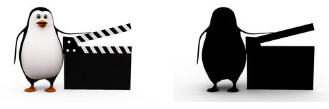 3d penguin with movie clapper in hand concept collections with alpha and shadow channel Royalty Free Stock Image