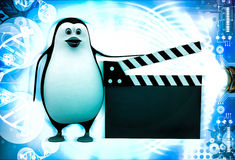 3d penguin with movie clapper in hand illustration Stock Image