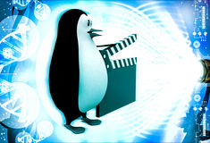 3d penguin with movie clapper in hand illustration Stock Photos
