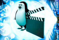 3d penguin with movie clapper in hand illustration Stock Images